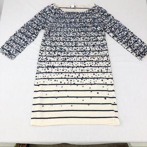 J. Crew Cream & Blue Sequin Sweater Dress Medium